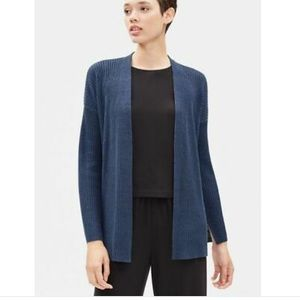NWT Eileen Fisher Organic Linen Knit Ribbed Blue